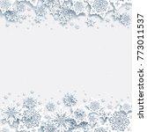 elegant paper cut snowflakes.... | Shutterstock .eps vector #773011537