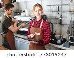 portrait of a girl baristas at... | Shutterstock . vector #773019247