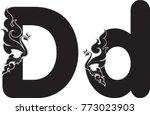swirl doodle alphabet letter d... | Shutterstock .eps vector #773023903