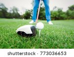 golfer getting ready to take a... | Shutterstock . vector #773036653