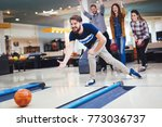 friends bowling at club | Shutterstock . vector #773036737