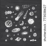 outer space set. cartoon galaxy.... | Shutterstock .eps vector #773038627