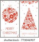 set of decorative winter cards  ... | Shutterstock .eps vector #773046907