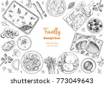 family dinner top view  vector... | Shutterstock .eps vector #773049643