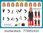 set of super businesswoman... | Shutterstock .eps vector #773051413
