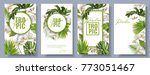 Vector botanical vertical banners set with tropical leaves, orchid flowers and butterflies on white. Design for cosmetics, spa, health care products, travel company. Can be used as summer background | Shutterstock vector #773051467