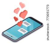 isometric modern smartphone... | Shutterstock .eps vector #773051773