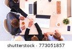business people shaking hands ...   Shutterstock . vector #773051857