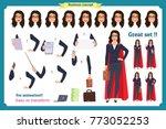 set of super businesswoman... | Shutterstock .eps vector #773052253