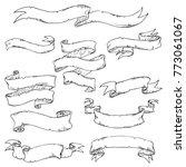 printhand drawn vintage ribbon... | Shutterstock .eps vector #773061067