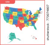 the detailed map of the usa... | Shutterstock . vector #773074807