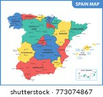the detailed map of the spain... | Shutterstock . vector #773074867
