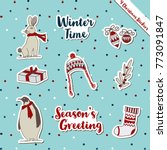 a set of christmas stickers ... | Shutterstock .eps vector #773091847