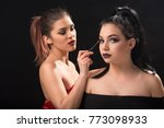 two beautiful girls on a photo... | Shutterstock . vector #773098933