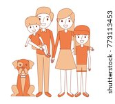 cute family dad mom little son... | Shutterstock .eps vector #773113453