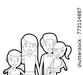 portrait happy family parents... | Shutterstock .eps vector #773114887