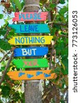 colorful please leave nothing... | Shutterstock . vector #773126053