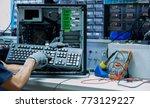 the technician are monitoring... | Shutterstock . vector #773129227