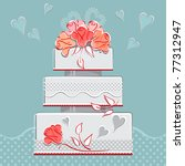 wedding cake with romantic... | Shutterstock .eps vector #77312947