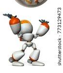a cute robot stands to catch... | Shutterstock . vector #773129473