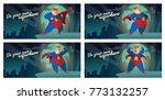"vector set of night city cards ""... | Shutterstock .eps vector #773132257"