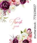 watercolor floral frame  ... | Shutterstock . vector #773134027