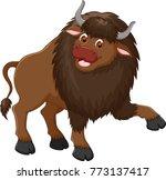 cute bison cartoon posing with... | Shutterstock .eps vector #773137417