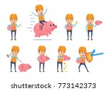 set of funny construction... | Shutterstock .eps vector #773142373