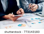 business working at office with ... | Shutterstock . vector #773143183