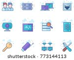 computer network icon series in ... | Shutterstock .eps vector #773144113