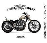 vintage chopper motorcycle... | Shutterstock .eps vector #773147797