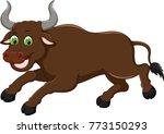 cute bison cartoon running with ... | Shutterstock .eps vector #773150293