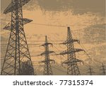 high voltage tower and grunge...