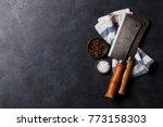 butcher. vintage meat knives... | Shutterstock . vector #773158303