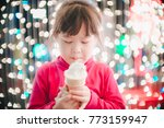 little girl with led lights... | Shutterstock . vector #773159947