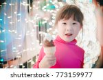little girl with led lights... | Shutterstock . vector #773159977