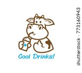a cute cartoon cow with a drinks | Shutterstock .eps vector #773160943