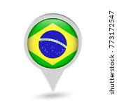 brazil flag round pin icon.... | Shutterstock .eps vector #773172547