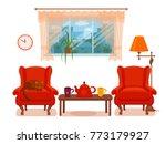colorful vector cozy interior... | Shutterstock .eps vector #773179927