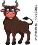 cute bull cartoon posing with... | Shutterstock .eps vector #773196883