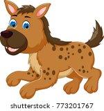 cute hyena cartoon walking with ... | Shutterstock .eps vector #773201767