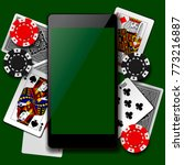 modern phone on playing cards... | Shutterstock .eps vector #773216887