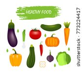 healthy  vegetables such as  ... | Shutterstock . vector #773224417
