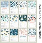 modern creative calendar 2018...   Shutterstock .eps vector #773240593