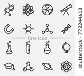 set of science vector thin line ... | Shutterstock .eps vector #773244613
