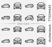 set of various cars front and... | Shutterstock .eps vector #773244643