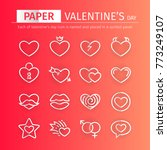 set of paper valentines day... | Shutterstock .eps vector #773249107
