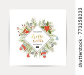 hand drawn christmas card.... | Shutterstock .eps vector #773258233