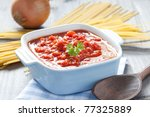 fresh tomato sauce in a pot - stock photo