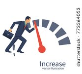 businessman pushing speedometer ... | Shutterstock .eps vector #773264053